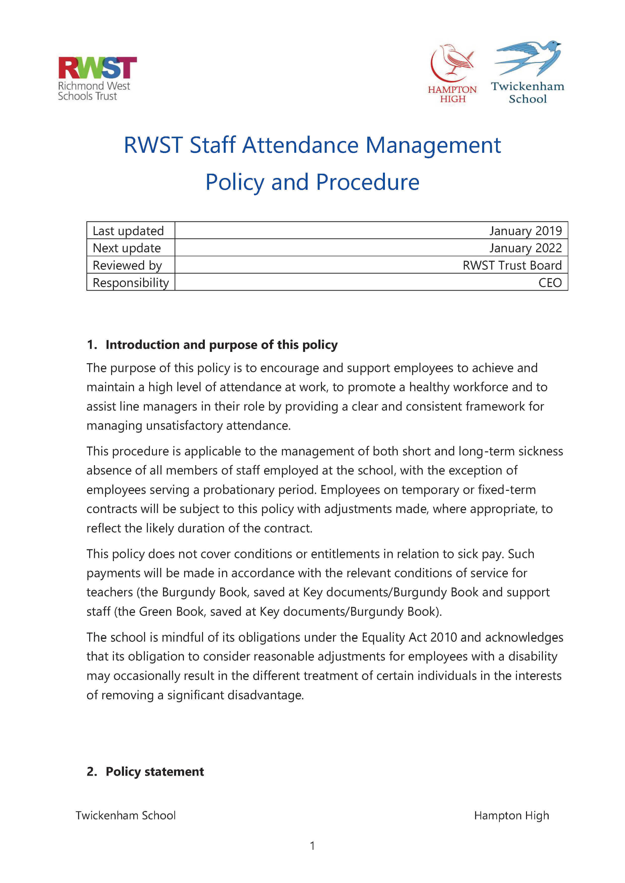 RWST Attendance Management Policy and Procedure